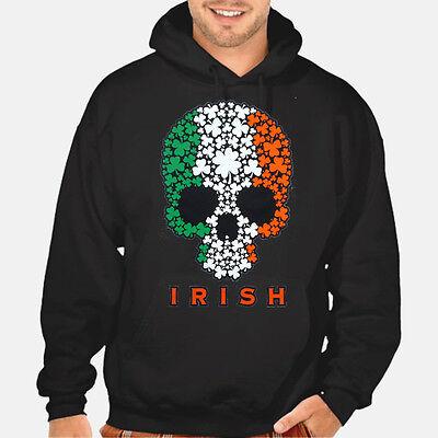 - New Irish Shamrock Skull Black Hoodie Sweatshirt S-5XL Ireland mma fighting