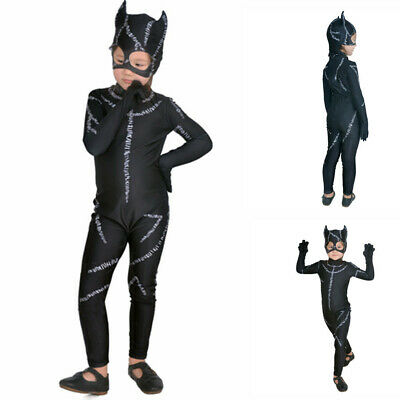 Super Hero Catwoman Costume Outfit Girls Child Jumpsuit Fancy Dress Halloween](Catwoman Halloween Costume For Girls)