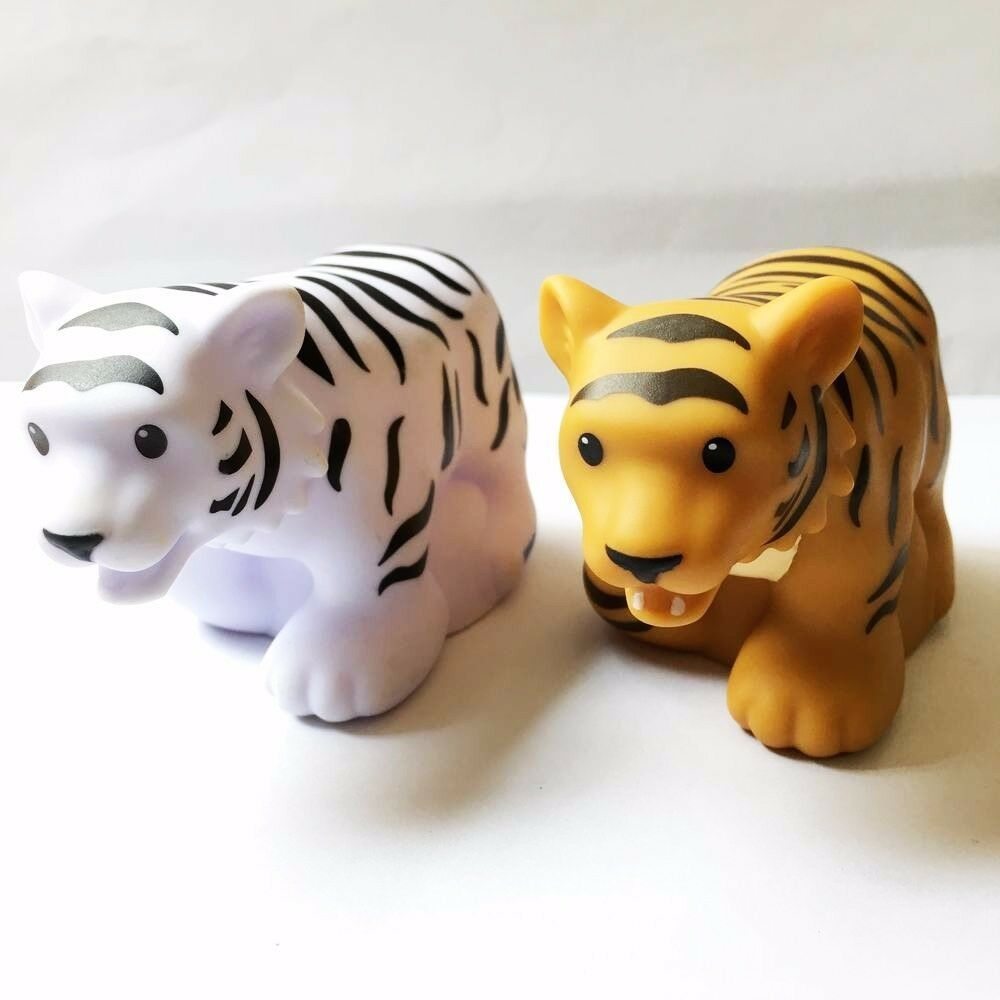 2 Little People Fisher-Price Zoo Animal White Tiger Brown Tiger no sound Toys