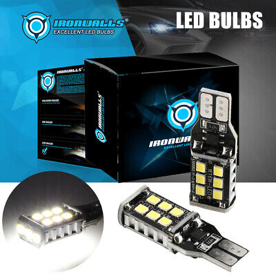 IRONWALLS T15 LED Reverse Back Up Lights Bulbs 921 912 W16W Super Bright 8000K