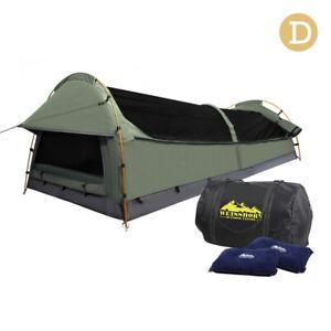 Double Swag Camping Canvas Tent Aluminium Pole Carry Bag Air Pillow Celadon