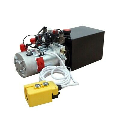 12v 8-quart High Flow Power Up Grav Down Hydraulic Pump Power Unit Dump Trailer