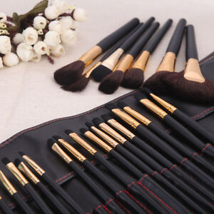 32 PCS Makeup Brush Set Cosmetic Brushes Make up Kit Gold + Pouch Bag Case UK