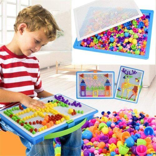296 Stecker Puzzle Steckspiel Pilz Nägel Pädagogische Baustein Spielzeug Mosaik