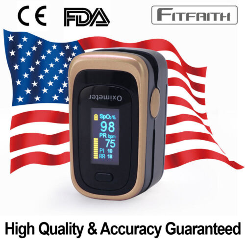 Finger Pulse Oximeter Blood Oxygen SpO2 Monitor PR PI Respiratory Rate FDA & CE