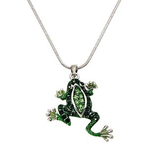 Frog pendant ebay little emerald green frog pendant necklace 18 mozeypictures Image collections