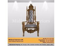 2 x NEW Lion King Queen Wedding Throne Chairs - Gold & White (175cm) - Luxury French Asian Furniture