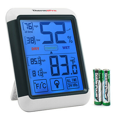 Thermopro Tp55 Digital Indoor Hygrometer Thermometer Touchscreen Humidity Meter