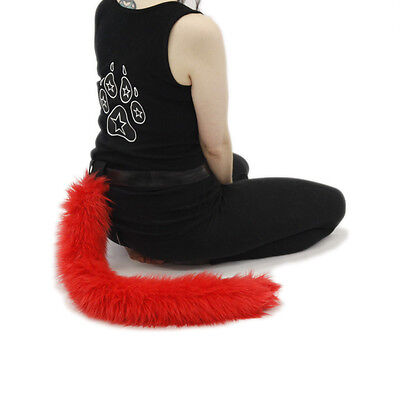 PAWSTAR Furry Kitty Tail - Cat Costume Neon Red Adult Pet Play Best Fluffy 3500 - Best Cat Costume