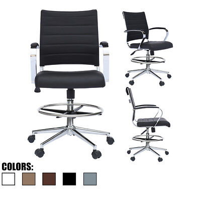 Modern Designer Ergonomic Office Drafting Chair Low Back With Arms Ribbed
