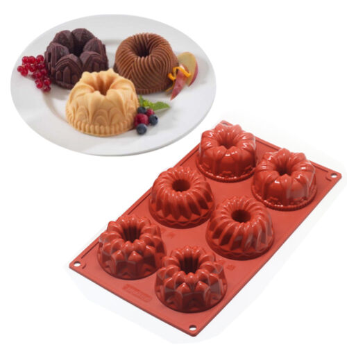 6-Cavity Mini Bundt Savarin Cake Silicone Mold Chocolate Dou