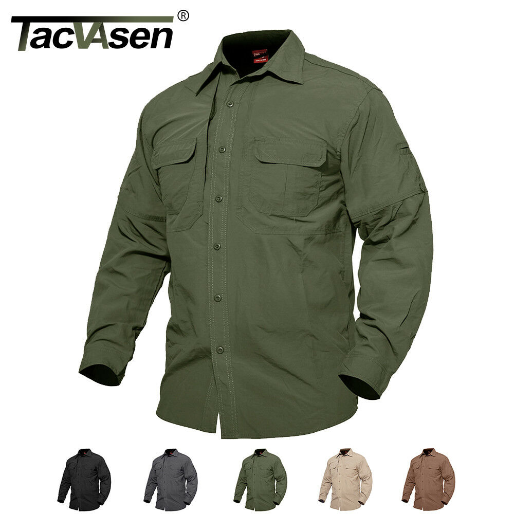 Mens Quick Dry Shirts Military Long Sleeve Hiking Travel Shi