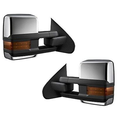 For 14-17 Silverado Sierra Chrome Power+Heated+LED Turn Signal Towing Mirrors