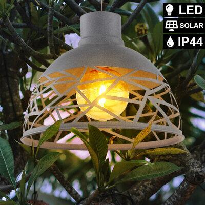 LED Jardín Lámpara Exterior Cubrir Foco Terraza Luz Ámbar Solar Péndulo Gris