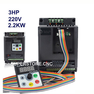 3hp 2.2kw Single Phase Variable Frequency Driver Inverter Vfd 5m Cable For Cnc