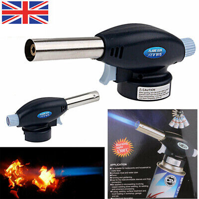 Blow Torch Butane Gas Flamethrower Burner Welding Auto Ignition Soldering BBQ UK
