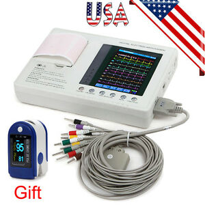 12-lead Digital 3-channel Electrocardiograph ECG/EKG Machine Interpretation Gift