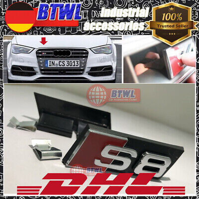 AUDI Schwarz S3 Front Grill Badge Abzeichen Grill Emblem Logo Vorne S4S6S5S7S8