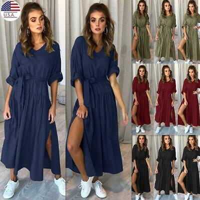 ✅Women V Neck Pleated Split Dress Lady Beach Loose Waist Long Sleeve Maxi Dress