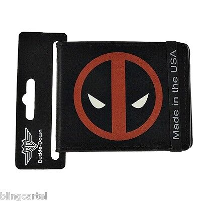Deadpool Wallet Marvel Comics X-Man Red Icon Bifold Black PU Leather Buckle Down