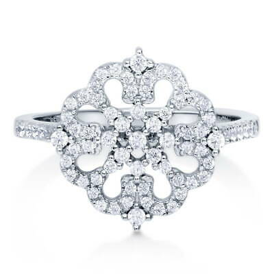 BERRICLE Sterling Silver Cubic Zirconia CZ Flower Fashion Right Hand Ring