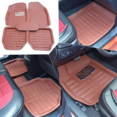 Universal Brown  Car Floor Mats Front  Rear All Weather 5 seats Anti Slip Mat