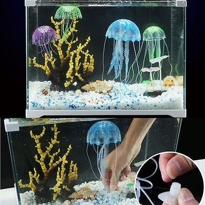 Soft Glowing Effect Artificial Jellyfish Fish Tank Decor Aquarium Ornament Efo