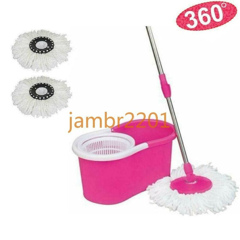 360° Rotating Head Easy Spin Dry Floor Mop Bucket + 2x Head Microfiber Spinning