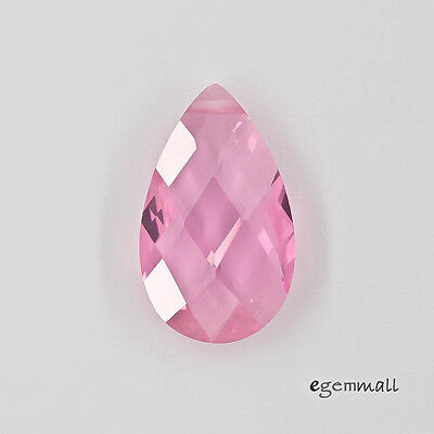 Cubic Zirconia Flat Pear Briolette Pendant Bead 12x20mm Pink #64742 ()