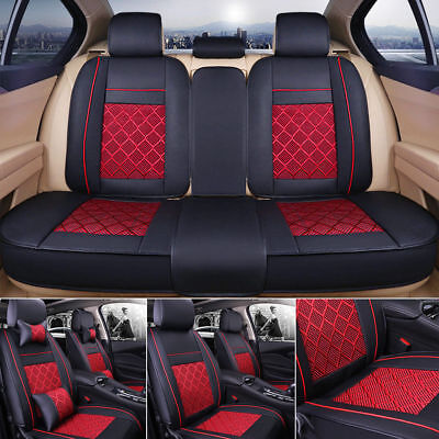US Stock Car Seat Cover PU Leather+Ice Silk Black w/ Red Front+Rear Set 5 Seats