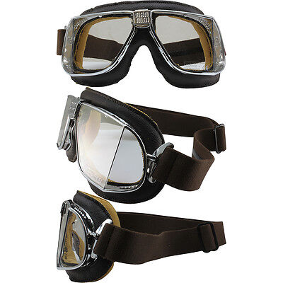 Nannini Custom Brown Leather Clear NoFog Italian Motorcycle Goggles Hand (Custom Motorcycle Goggles)