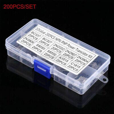 10 Values X20 200pcs Npn Pnp Power Transistor Assortment Kit Box Bc337