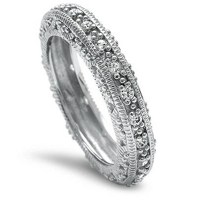 Antique Cz Engagement Rings (Antique Round CZ Engagement Solid sterling silver Wedding band ring sizes)