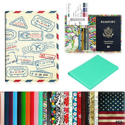 - Premium Vegan Leather Travel Passport Holder RFID Blocking Cards Case Cover
