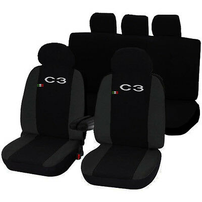 SEAT COVERS CITROËN C3 LINERS CAR SEATS TWO-COLOURED BLACK - DARK GREY