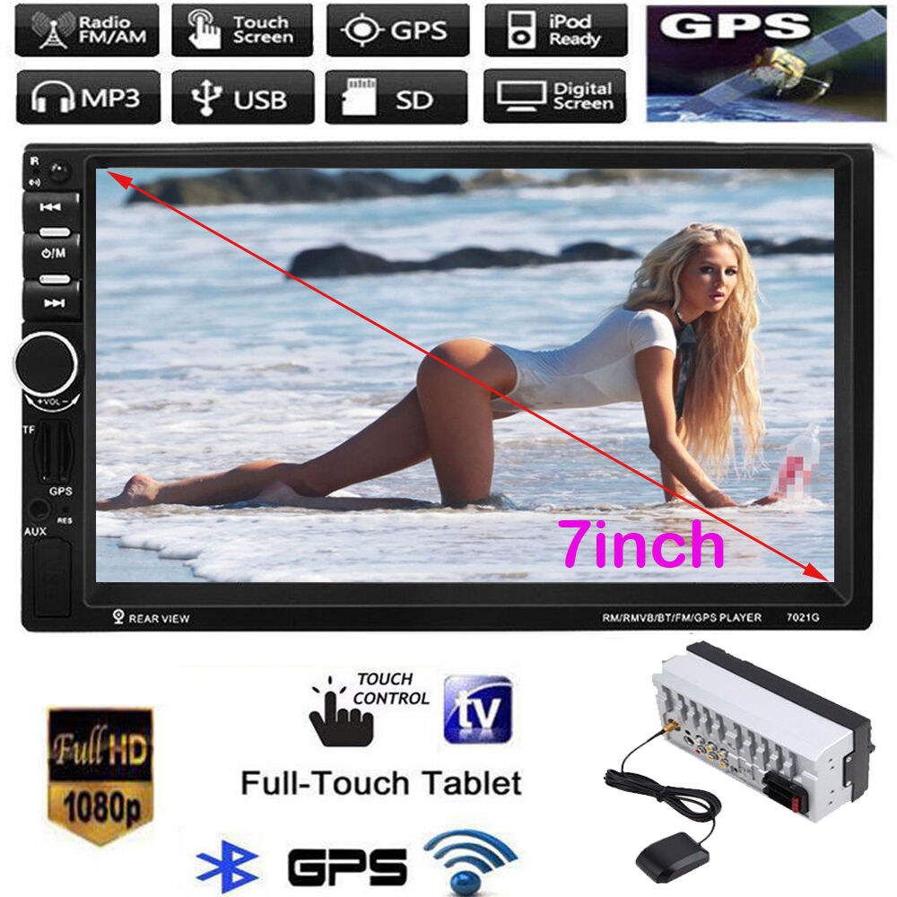 7\ Double 2DIN Car MP5 MP3 Player Bluetooth TouchScreen Stereo Radio USB/AUX GPS