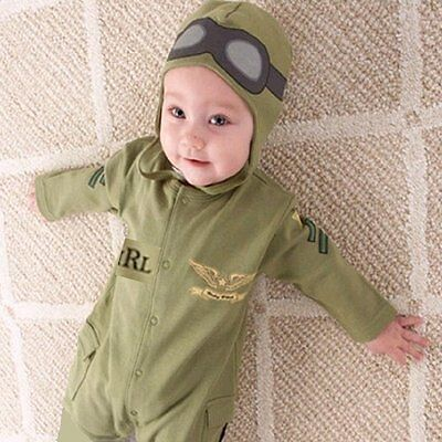 Baby Boy Pilot Military Air Force Aviator Astronaut Carnival Costume Outfit Set](Astronaut Outfits)