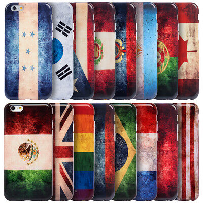 iPhone X XS 8 7 6 S Plus Hybrid Rubber Silicone Soft TPU Case Cover VINTAGE FLAG