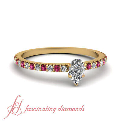 3/4 Carat Pear Diamond And Pink Sapphire Pave Set Engagement Ring GIA Certified