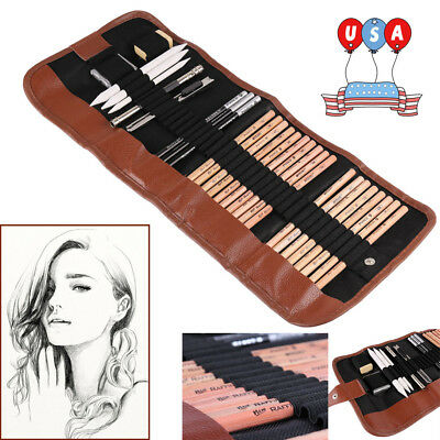 29pcs Sketching Art Supplies Set Drawing Artist Graphite Pencils & Bag 2-5 Days - Drawing Pencils