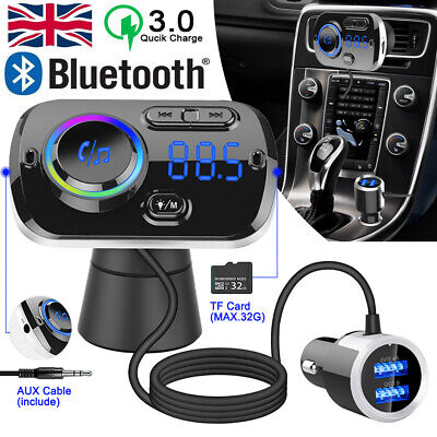 Wireless Bluetooth 5.0 Handsfree FM Transmitter MP3 Player USB Charger Car Kit