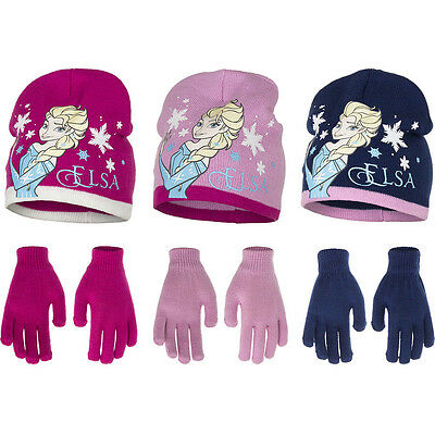 Frozen Die Eiskönigin Set Mütze Handschuhe Anna Elsa Gr. 52, 54, NEU