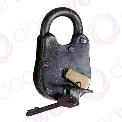 BLACK ANTIQUE PADLOCK Cast Iron Vintage Rustic Chest Door Shed Gate with Keys