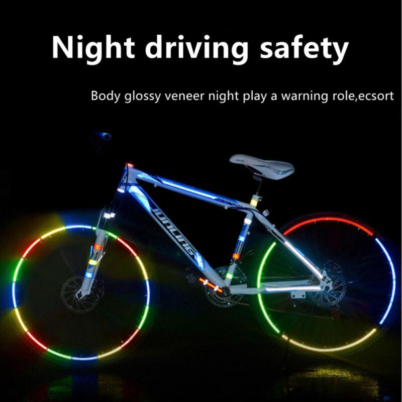8pcs Reflective Stickers Bike Reflector Security Wheel Rim Decal Tape Night kjy