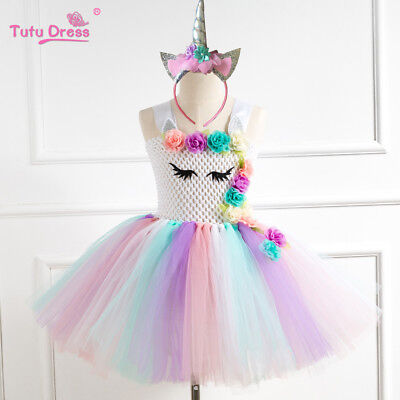 US STOCK Flower Girls Unicorn Tutu Dress Princess Girls Birthday Party Dress ZG9 - Unicorn Costumes For Girls
