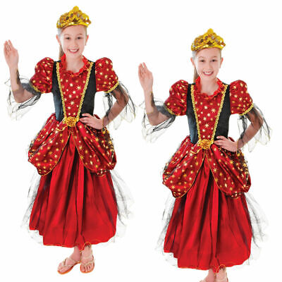 Kinder Kostüm Mittelalterlich Gold Star Prinzessin Outfit Buch Woche Tag (Buch Tag Kostüm Kinder)