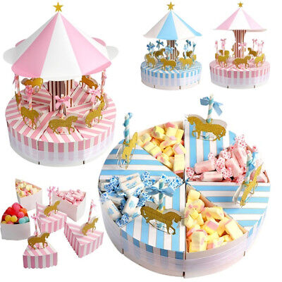 Carousel Baby Shower Candy Favor Boxes Unicorn Party Supplies Bag Gift Box Table - Carousel Party Favors