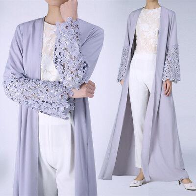 Fashion Women Muslim Dress Open Front Lace Abaya Kaftan Long Shirt Dresses