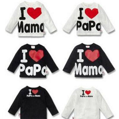 Love Papa And Mama Spring Autumn Baby  Cotton Shirts T-Shirt Boys Girls Tees