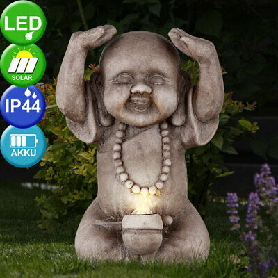 LED Solar Buda Lámpara Exterior Decoración Asia Feng-Shui Figura Balcón Luz Gris